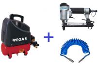 Компрессор  PEGAS HSOL-195/6 + набор скобозабивной пистолет   8016K  и шланг спиральный 5М